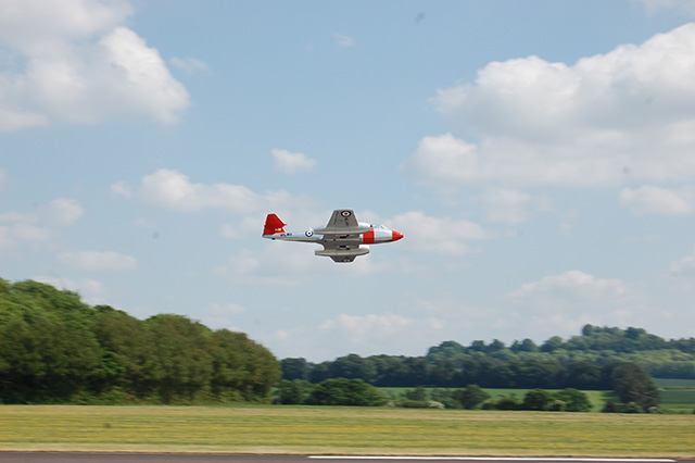 Roy Thompson's Martin Baker ejector seat test Meteor. (HDMAC Middle Wallop Fly-In)