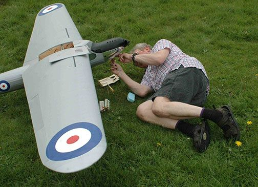 David  		getting under his Fairey Long Range Monoplane